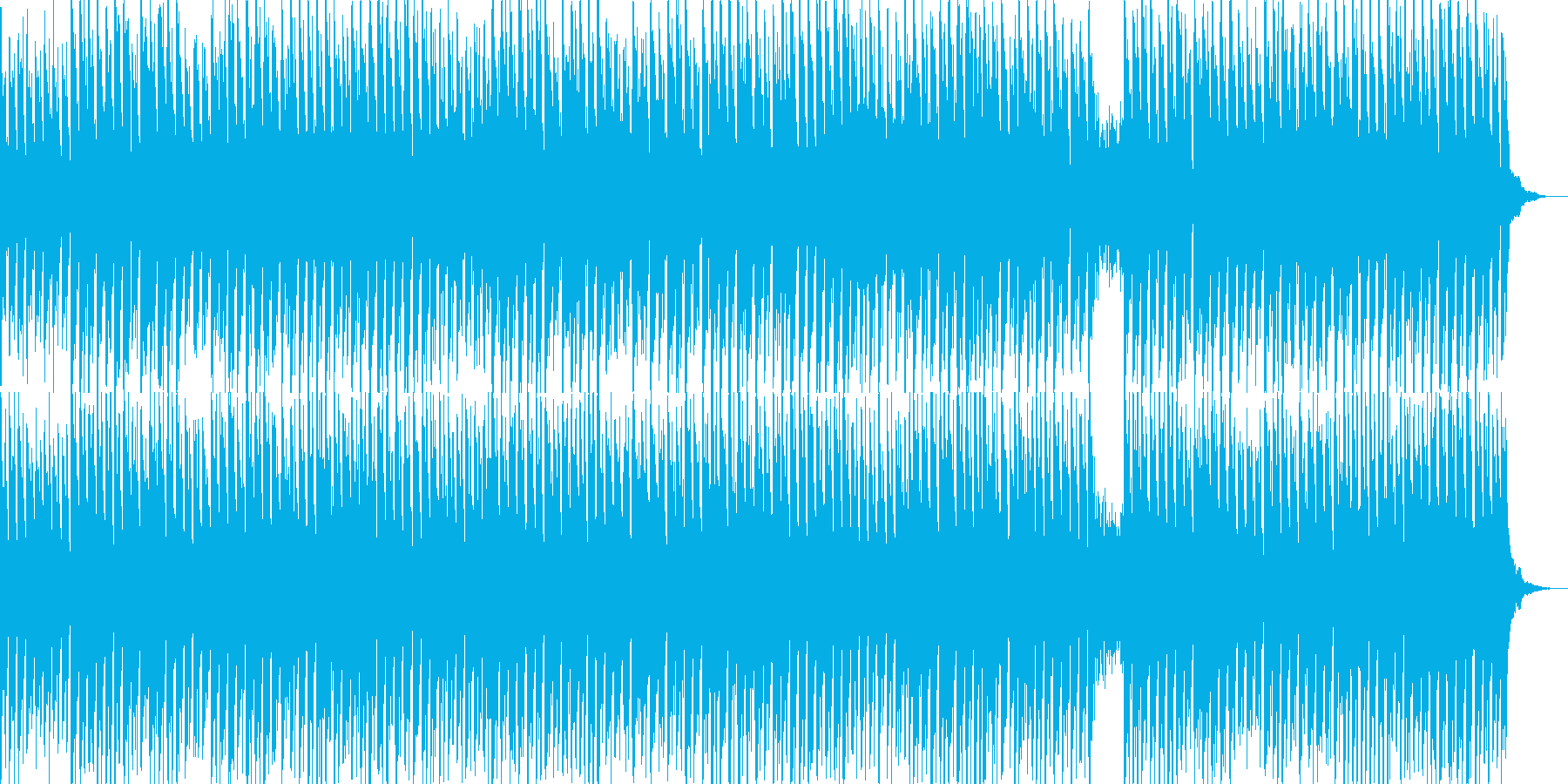 子供向けのわんぱくな冒険風テクノBGMの再生済みの波形