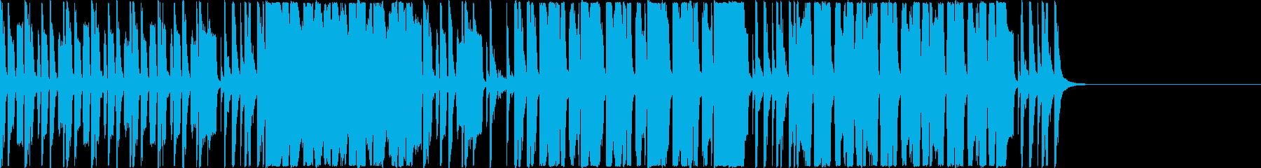 ベースリフと華やかなブラスセクションの再生済みの波形