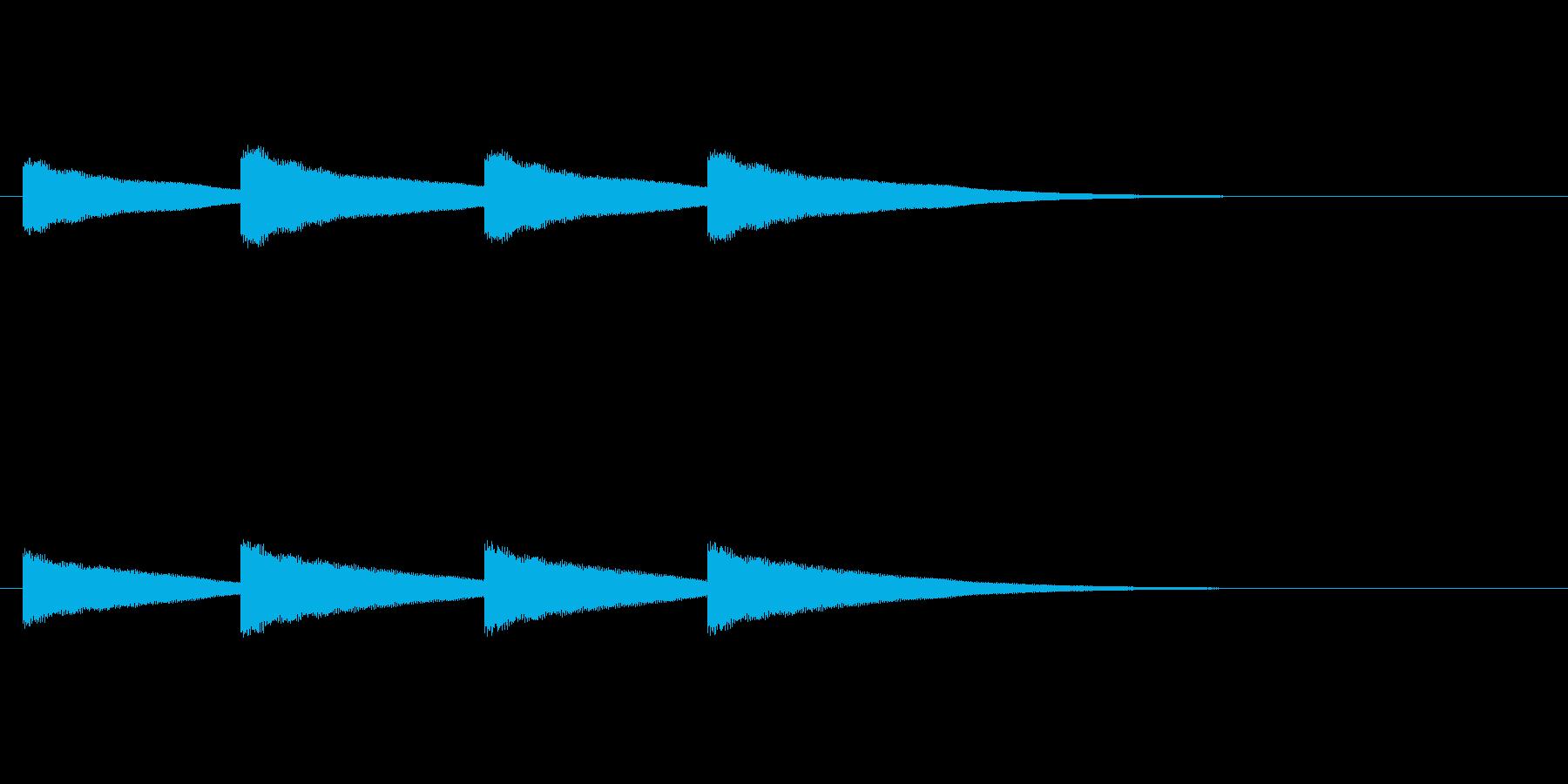 鐘の音(カーン×4回)の再生済みの波形