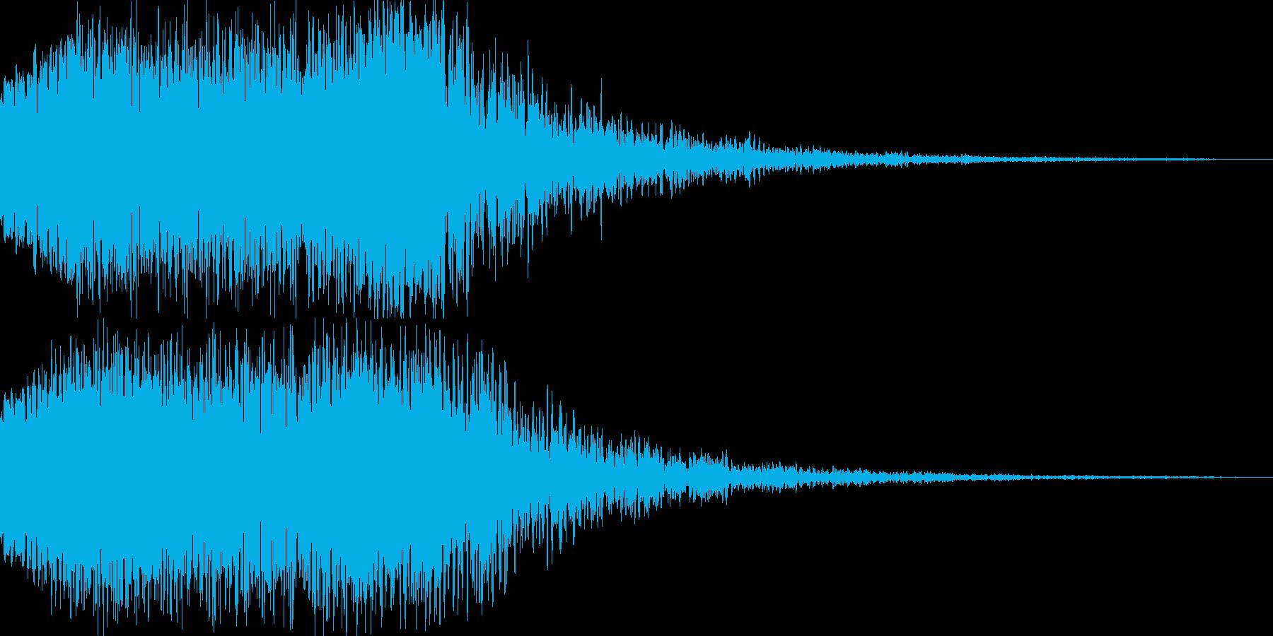夜空に響く空襲警報的なイメージの音の再生済みの波形