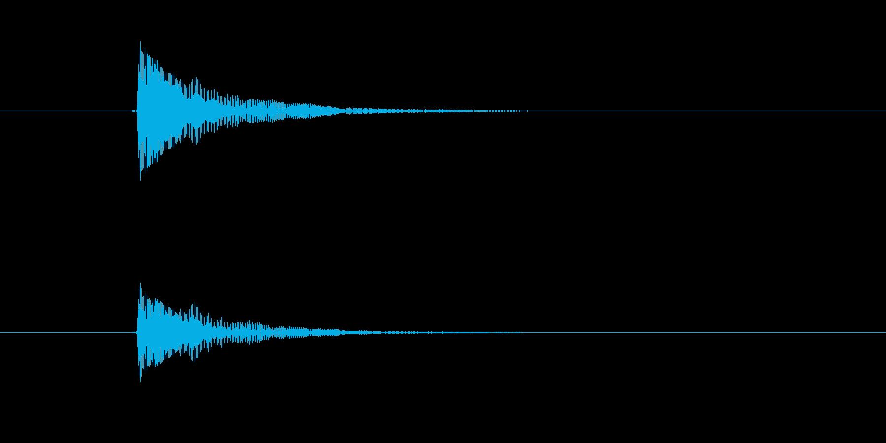 ポワーンと聞こえる気の抜けた印象の効果音の再生済みの波形