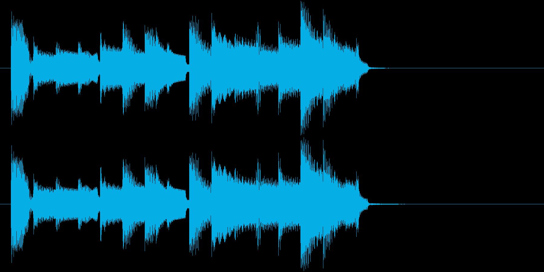 ほのぼのとした短いジングルの再生済みの波形