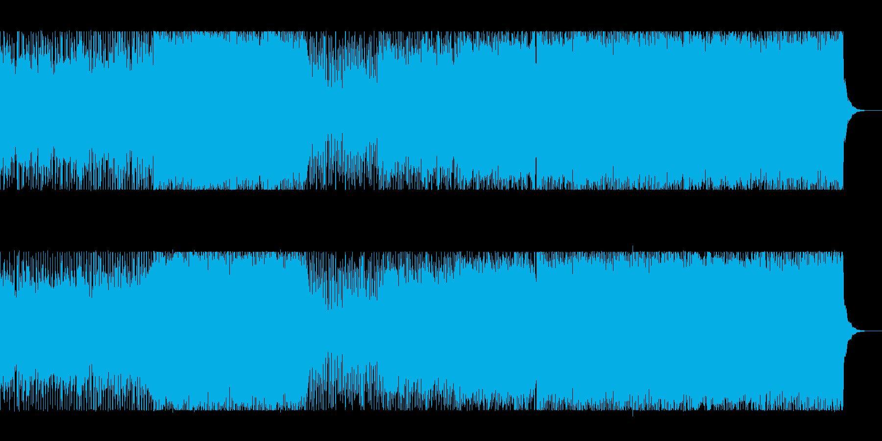 疾走感のあるギターロックとシンセの再生済みの波形