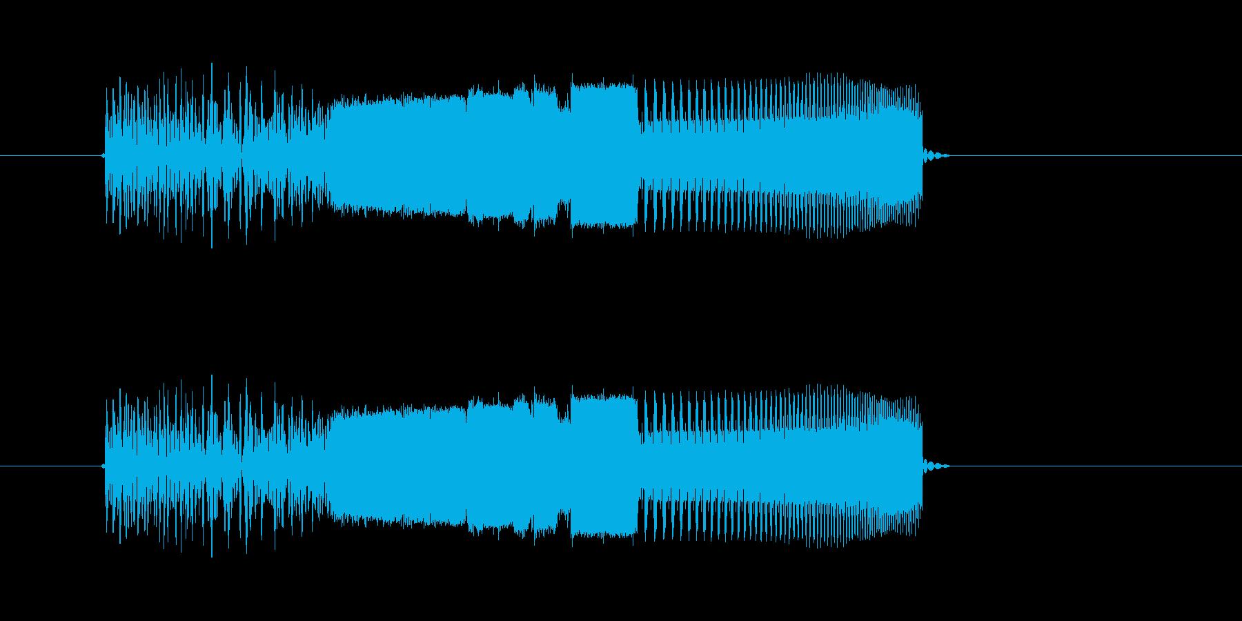激しい通過音や回転音(番組、ジングル)の再生済みの波形