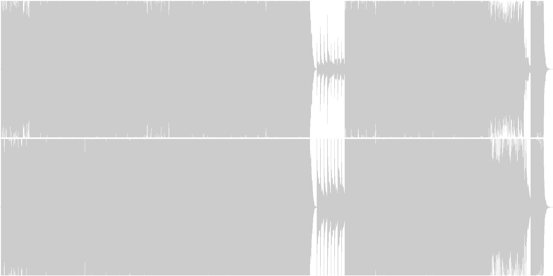 徐々に盛り上がるバラードの未再生の波形