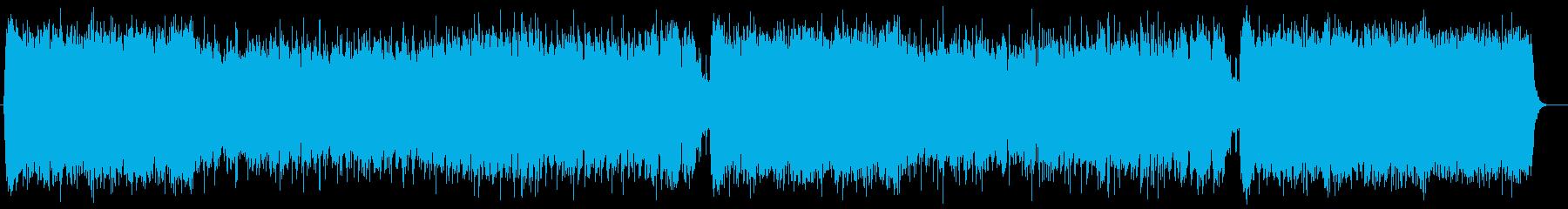 シンセサイザーの壮大でポジティブなBGMの再生済みの波形