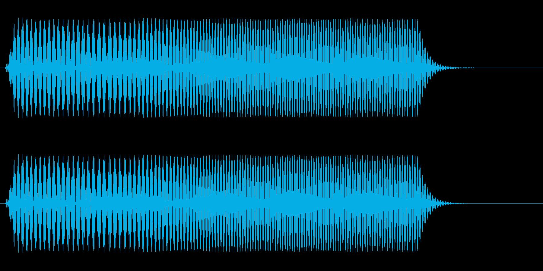 サイレンのようで、高めで短めの効果音の再生済みの波形