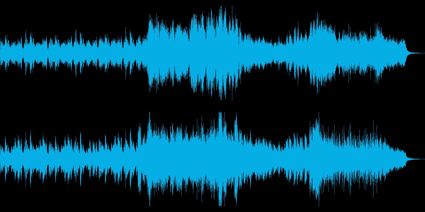 緊迫したサスペンスのオープニングテーマ風の再生済みの波形