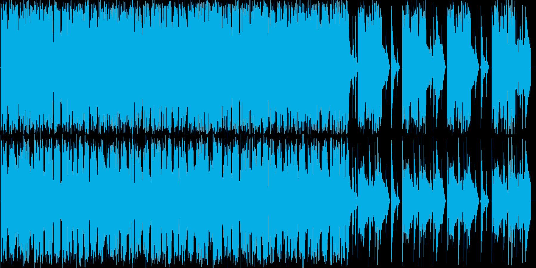 激しいギターのヒップホップ調の楽曲の再生済みの波形