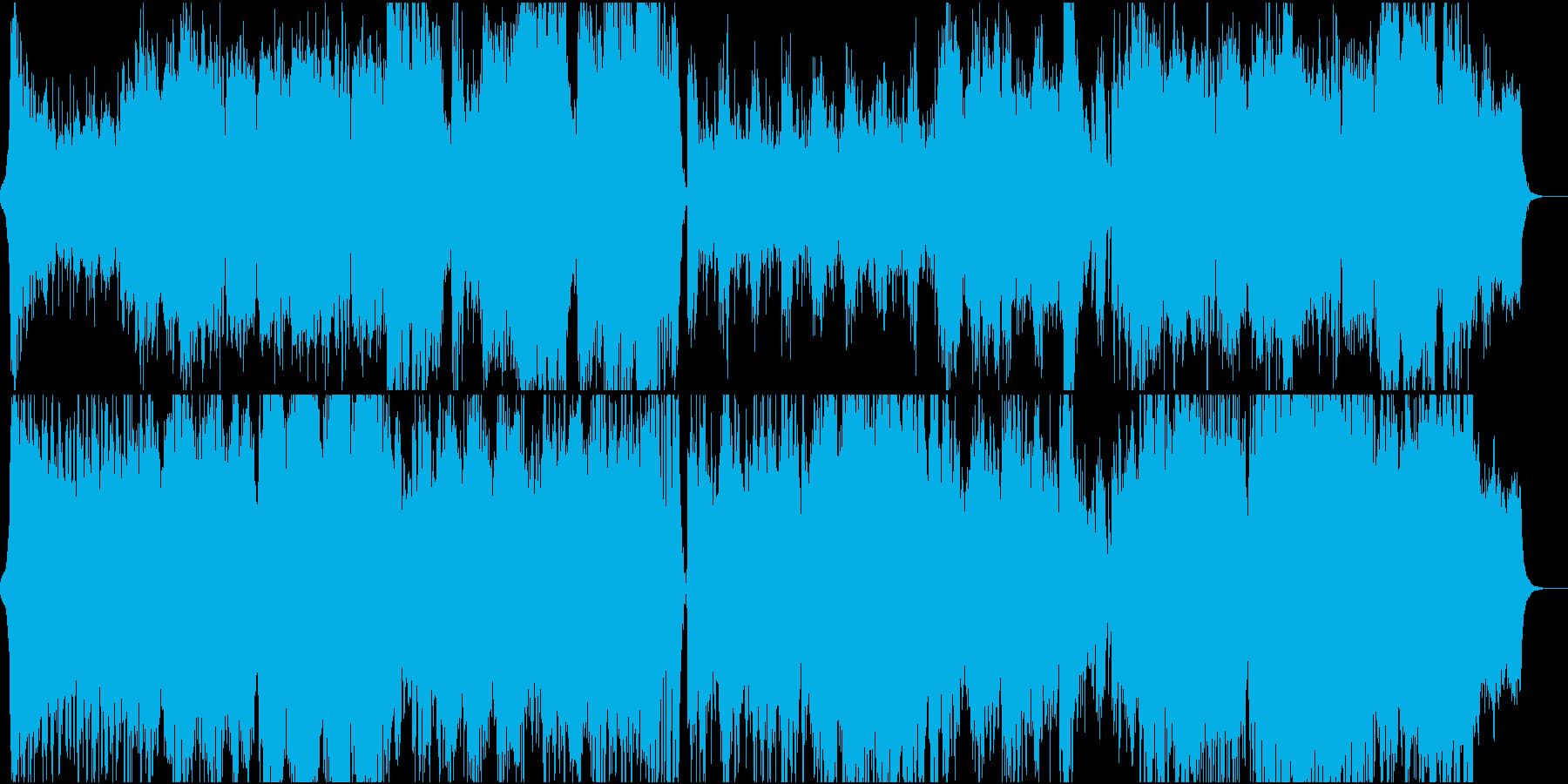 激しいオーケストラとエレキギターのBGMの再生済みの波形