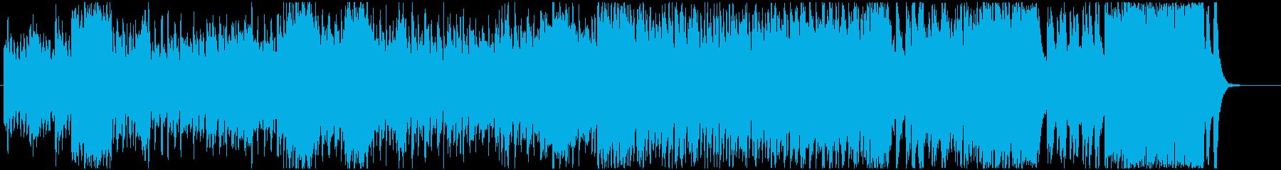 忙しい雰囲気のオーケストラマーチ風BGMの再生済みの波形