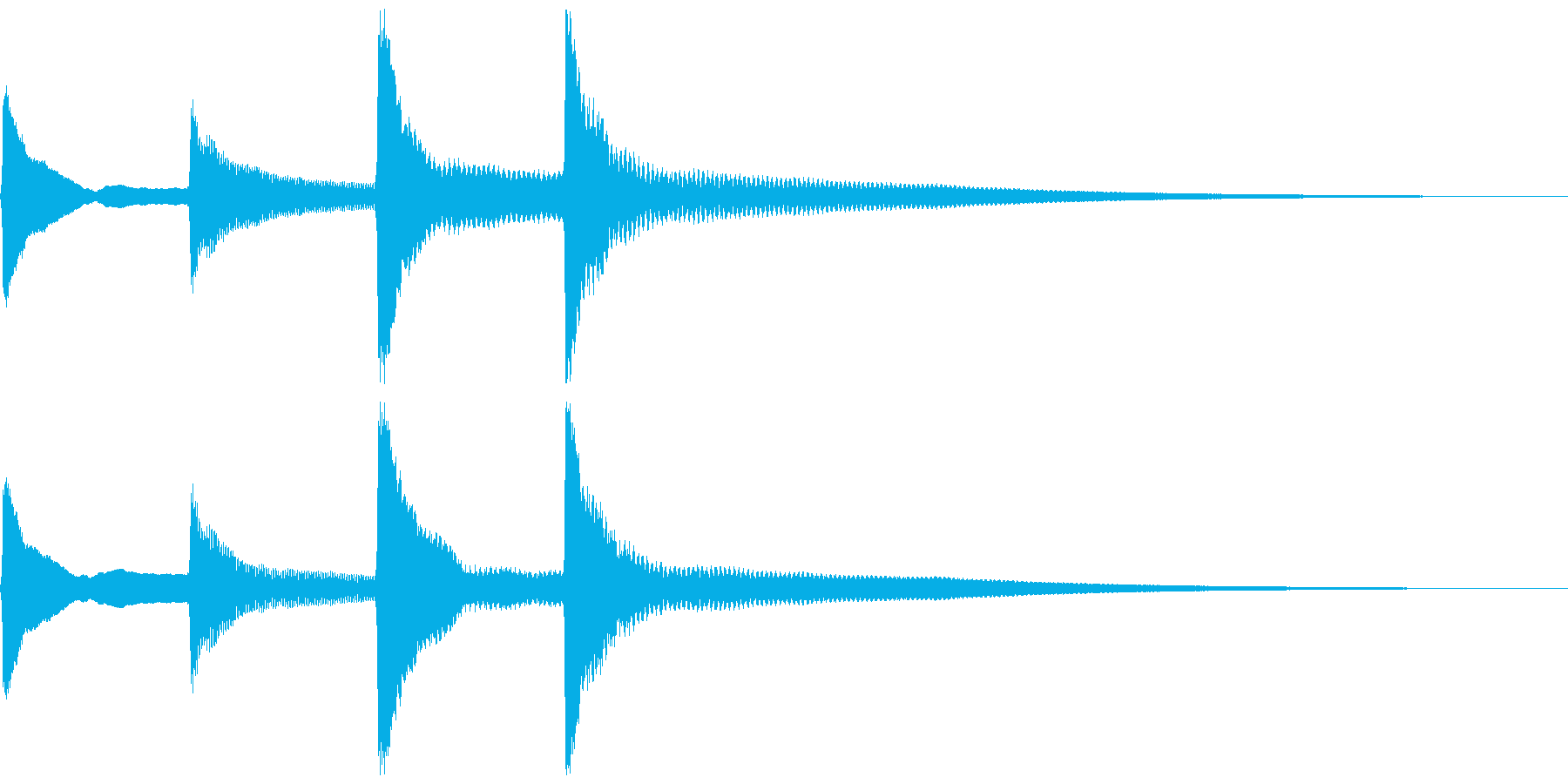 ピンポンパンポン。お知らせ音(終了)の再生済みの波形