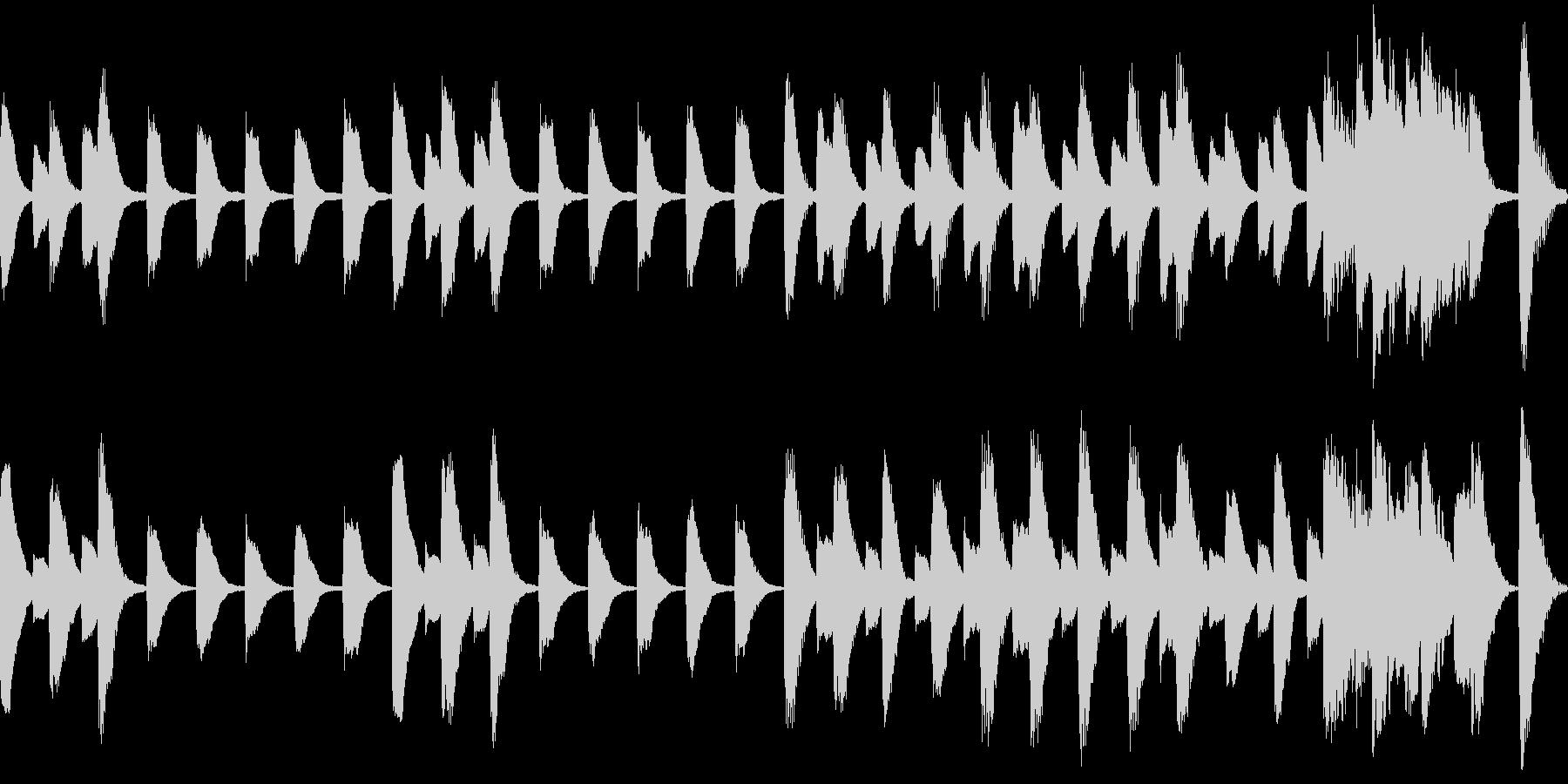 行進しているようなピアノ曲。15秒の未再生の波形