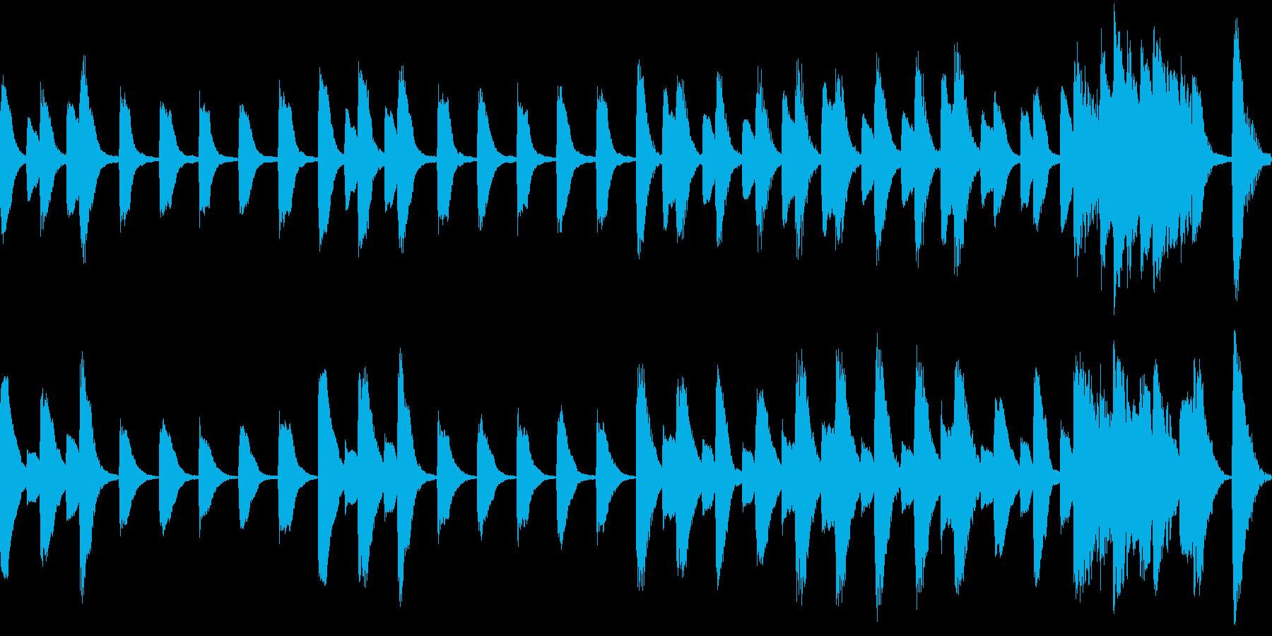 行進しているようなピアノ曲。15秒の再生済みの波形