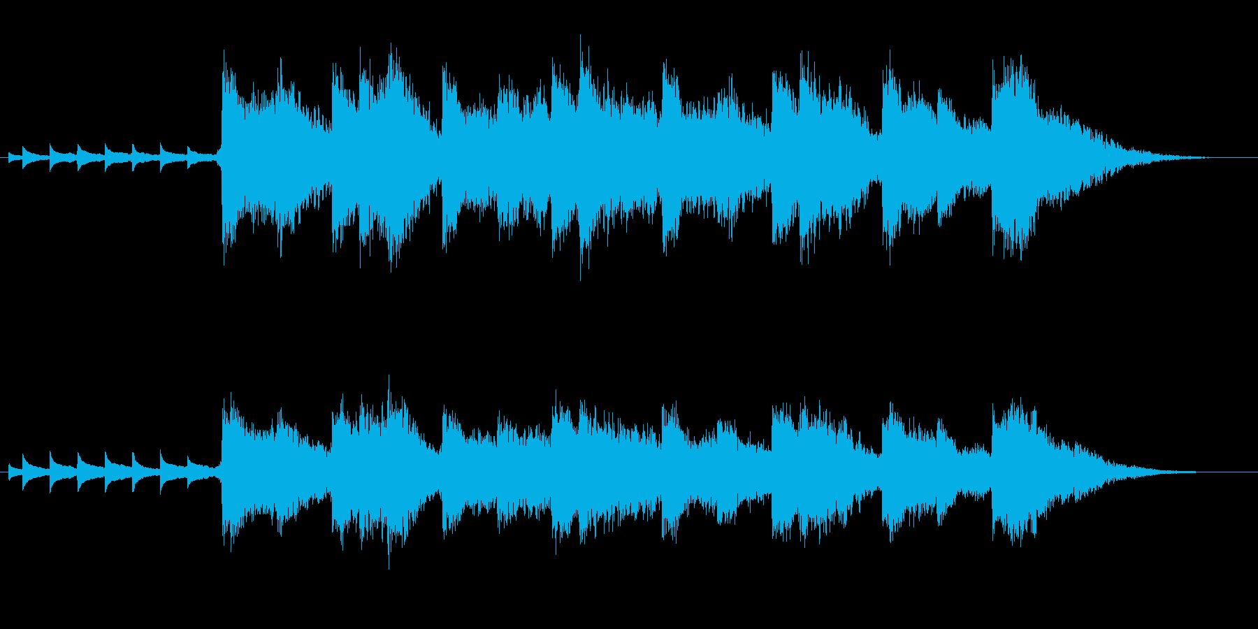 ホラー映画の様な、奇妙な子供の声での合唱の再生済みの波形