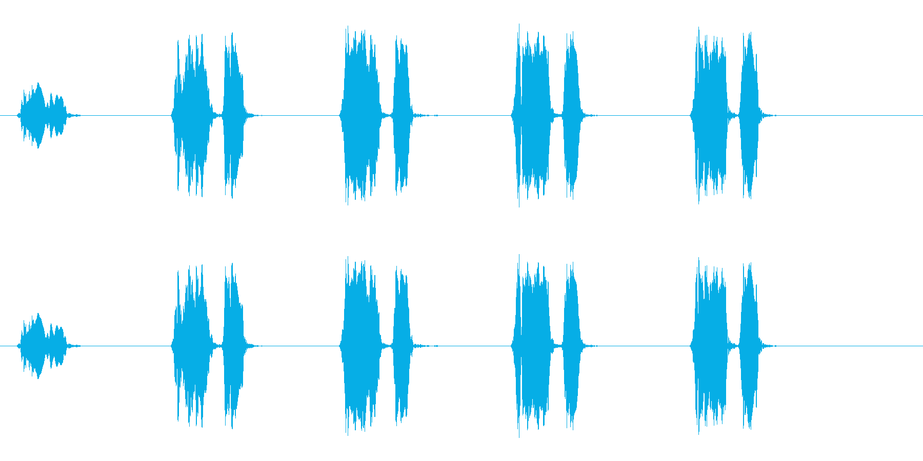 ウズラの鳴き声05-01の再生済みの波形