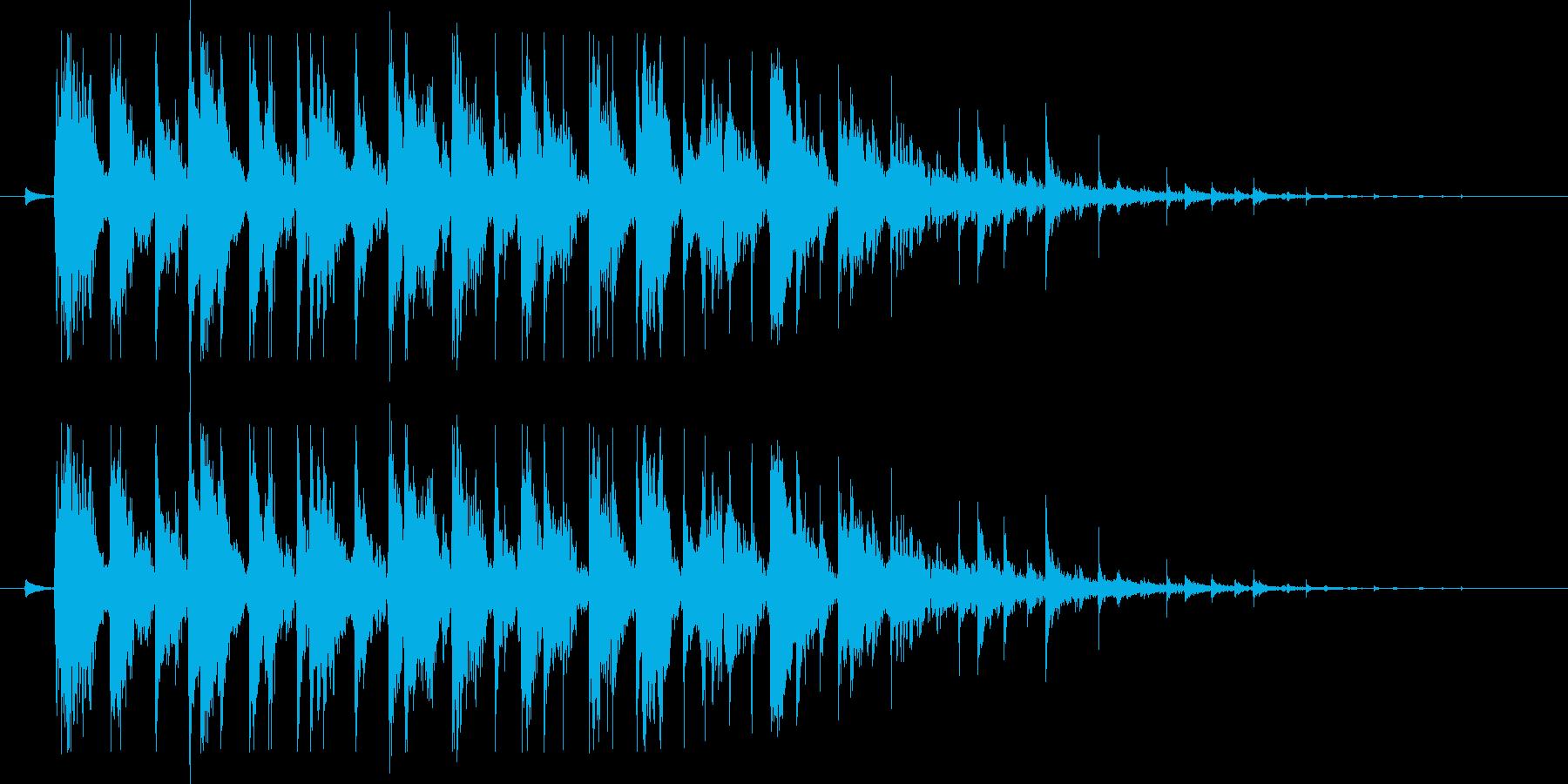 決定音(長めの、木琴のような音)の再生済みの波形