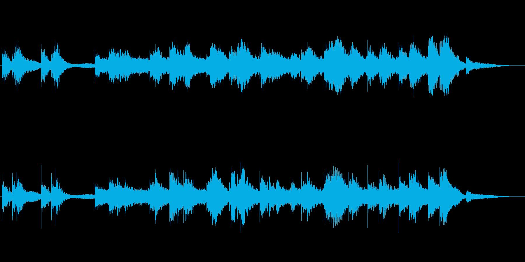 冷ややかなピアノのBGMの再生済みの波形