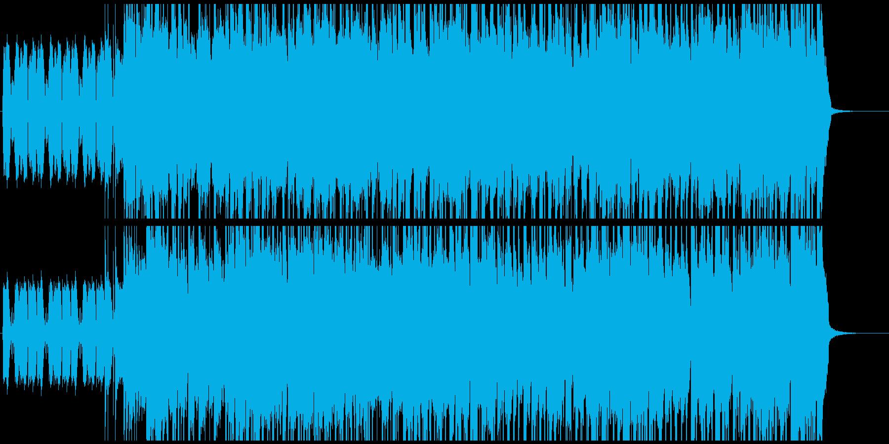 エレキギターとオルガンのロックBGMの再生済みの波形