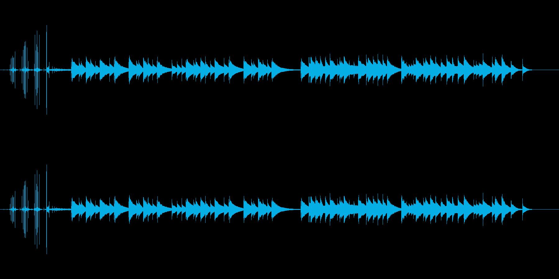 オルゴールのネジを巻き止まるまでの短い曲の再生済みの波形