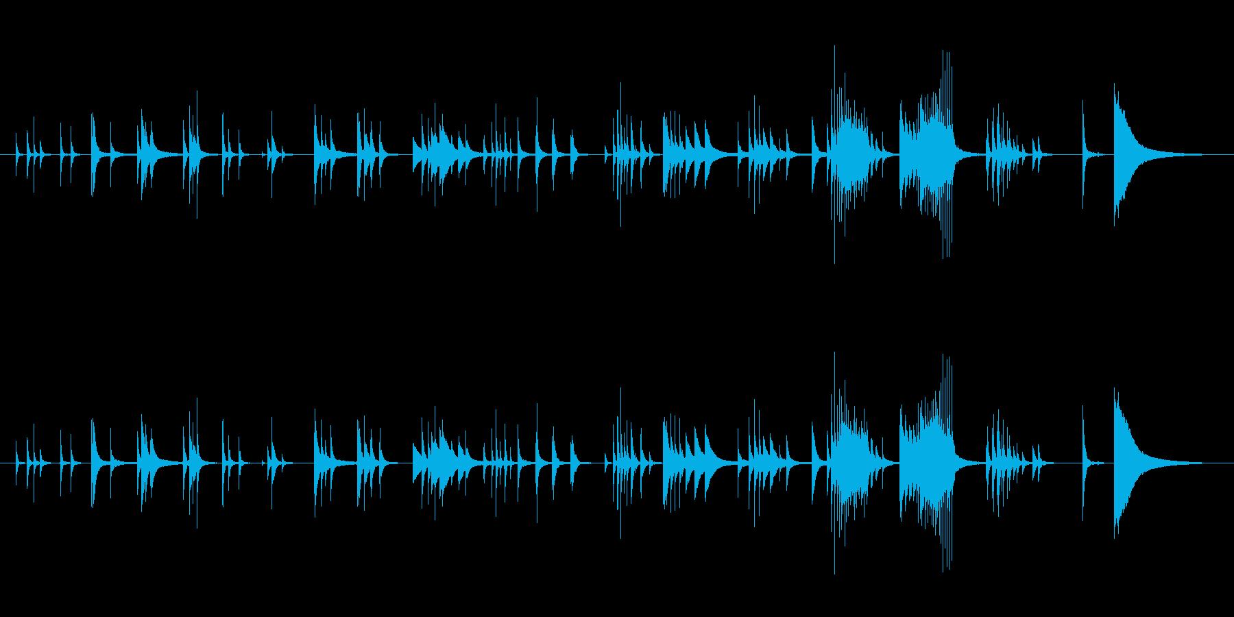 ピアノ中高音域を多用したメロディーの再生済みの波形