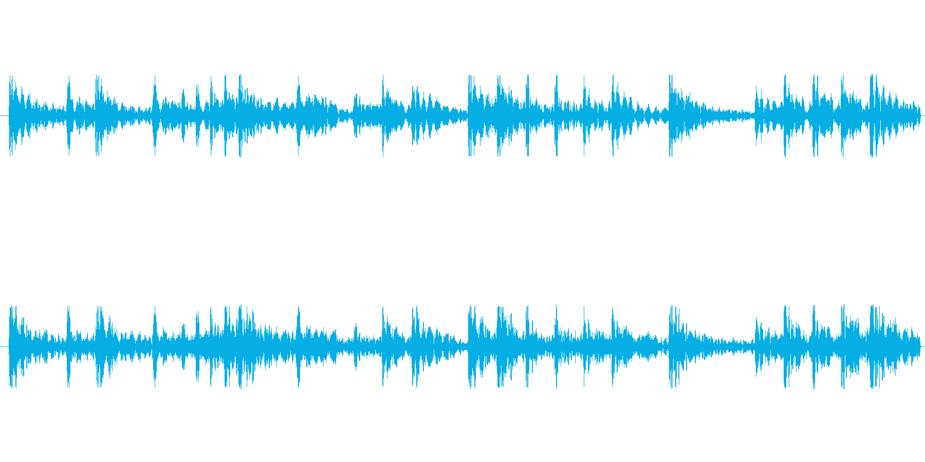 和太鼓リズムのみ音源のリバーブあり音源…の再生済みの波形