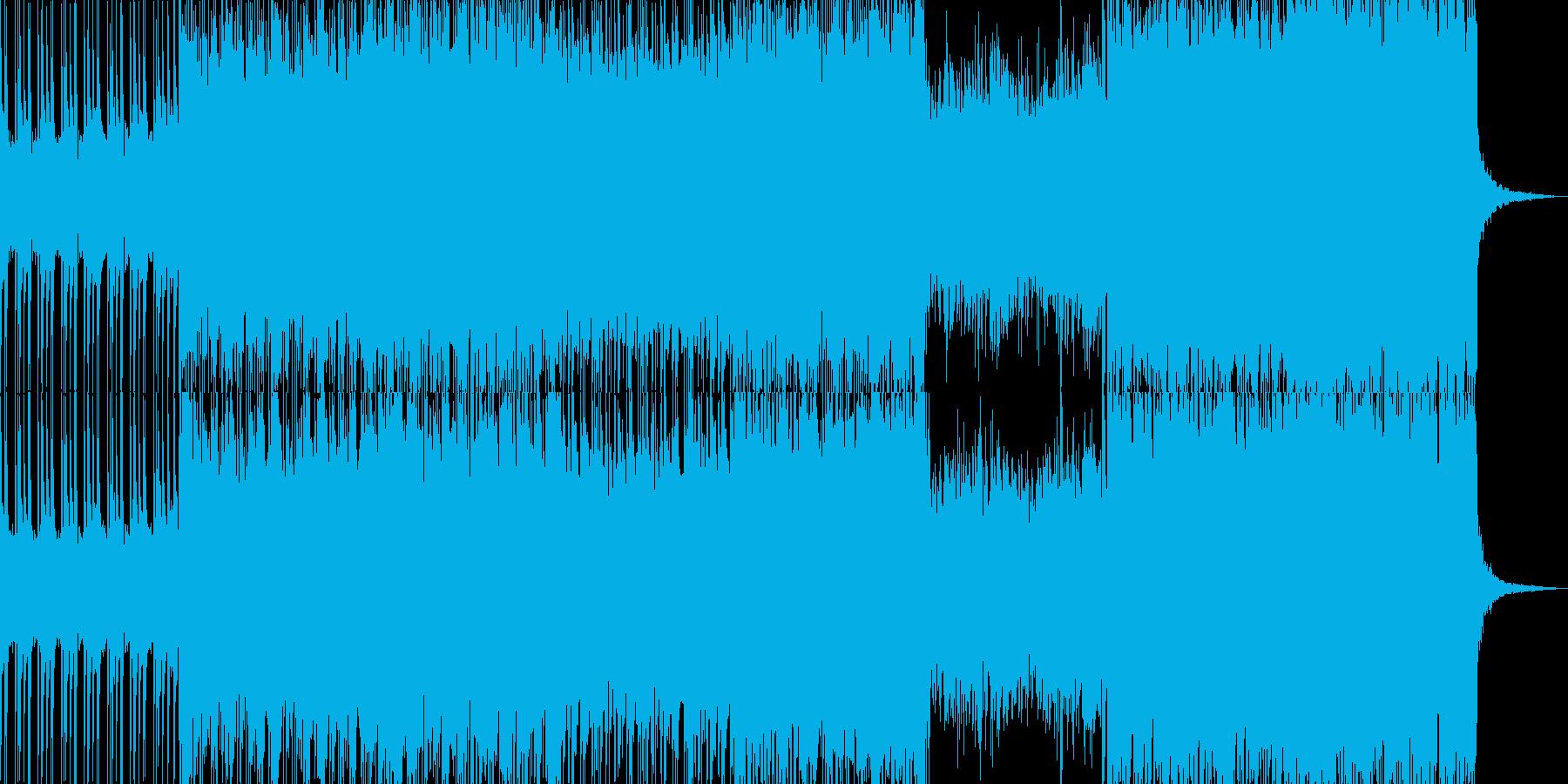 展開あるシンセとギターのスタイリッシュ曲の再生済みの波形