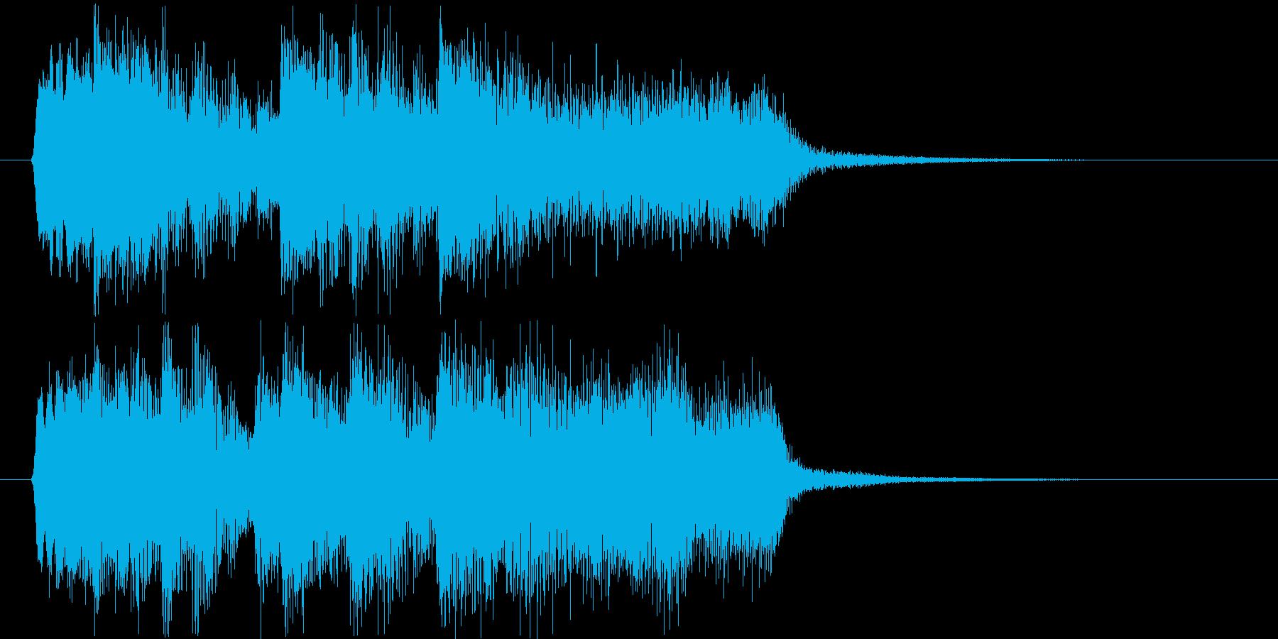 勢いのあるシンセサイザーなど短めジングルの再生済みの波形
