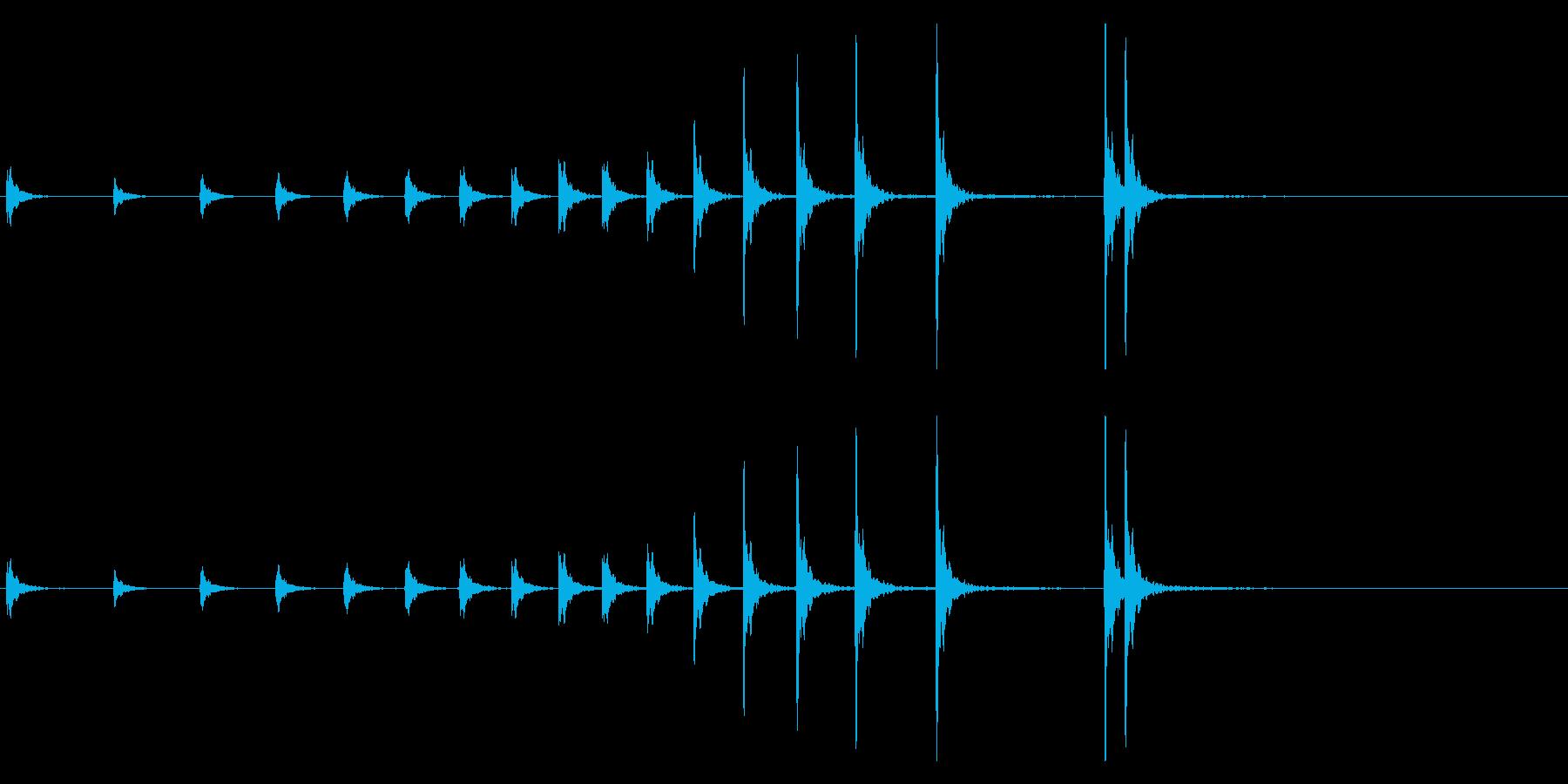 音侍「カンカン…」拍子木の連打音リバーブの再生済みの波形