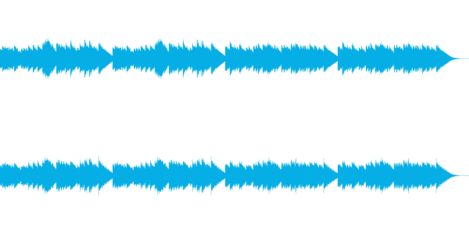 ほのぼのとした雰囲気のオルゴール風の曲の再生済みの波形