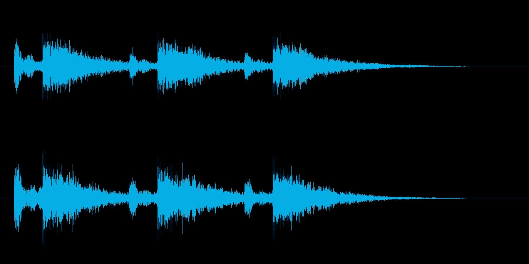 幻想的な打楽器とエコーの再生済みの波形