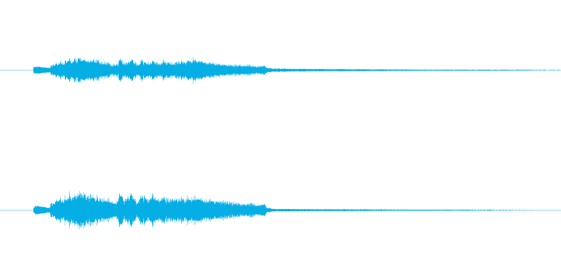 キラキラしたしぼむ音の再生済みの波形