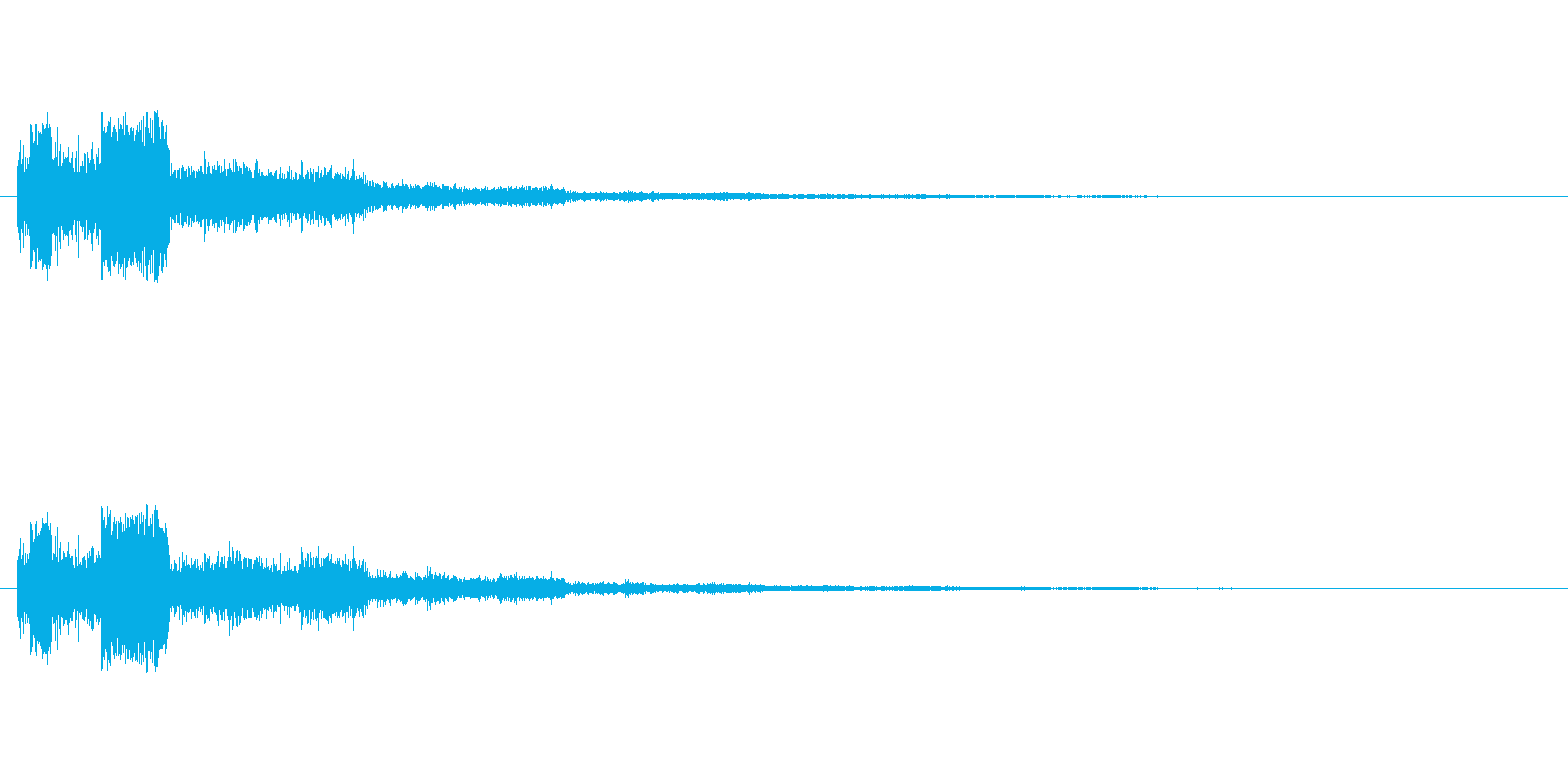 同一音をエフェクト加工したクリック音で…の再生済みの波形
