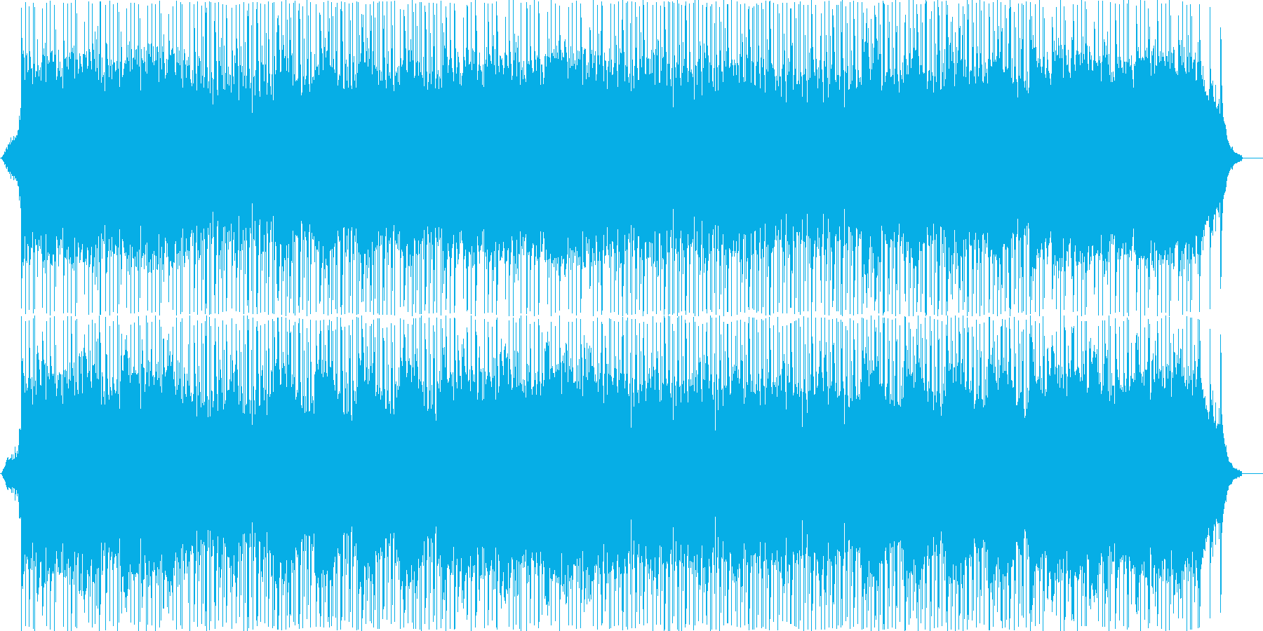 メタル風ギターサウンドと和楽器の曲の再生済みの波形