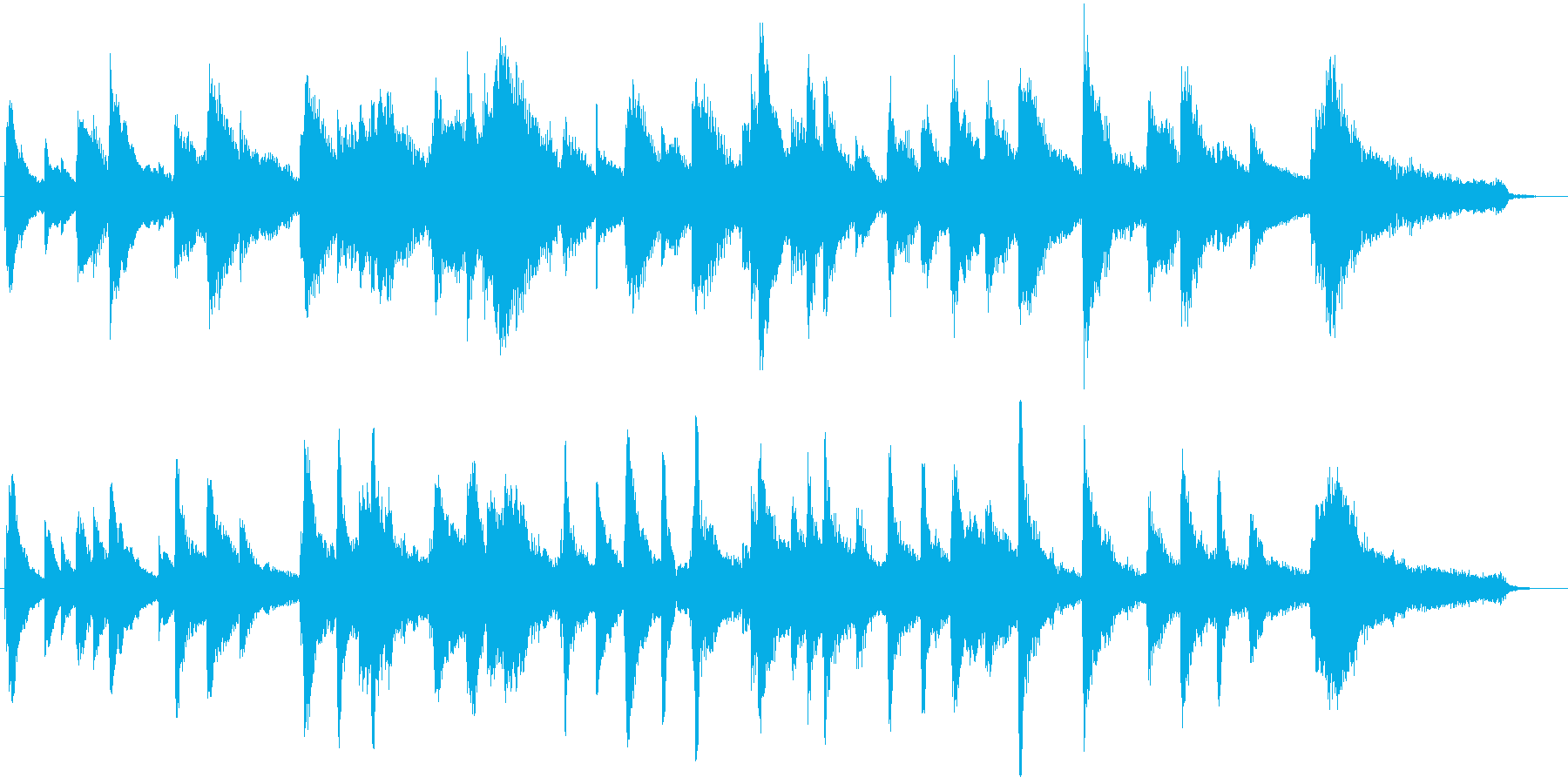 約45秒のピアノ曲。夜の静けさのような曲の再生済みの波形