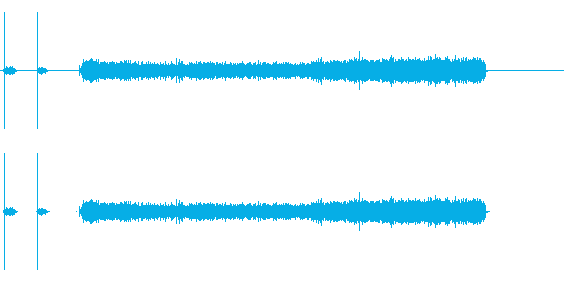 バーナーで火を付ける一連の流れの音の再生済みの波形