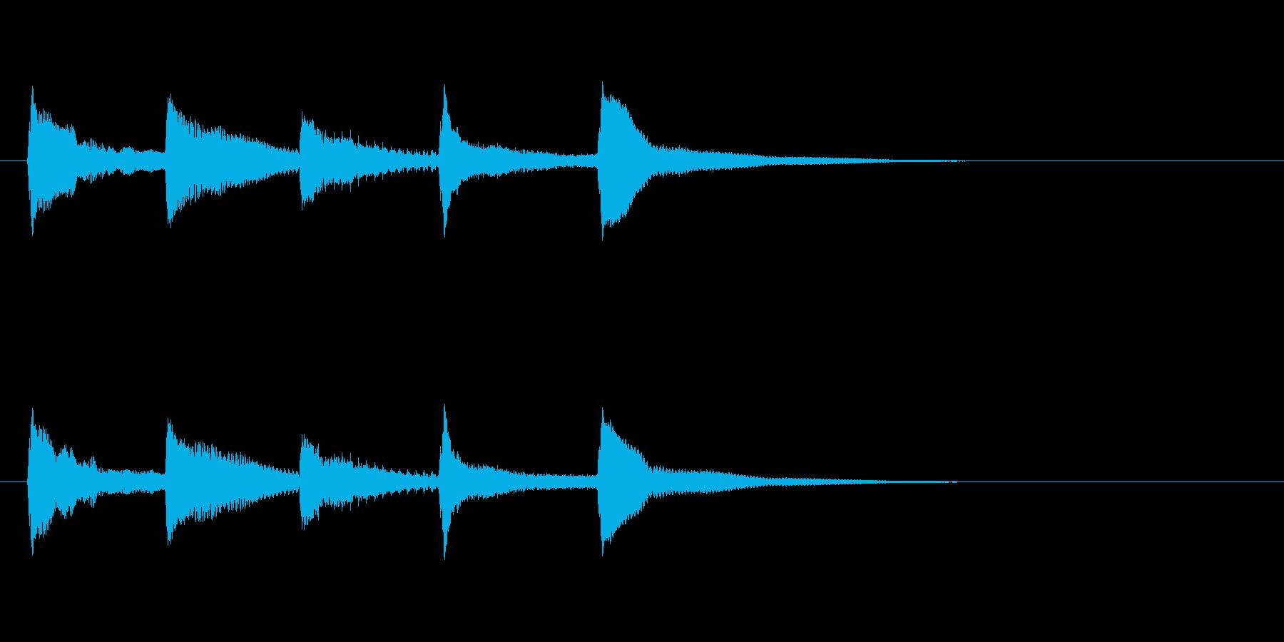 ゆらぎのある和風(琴)の起動音の再生済みの波形