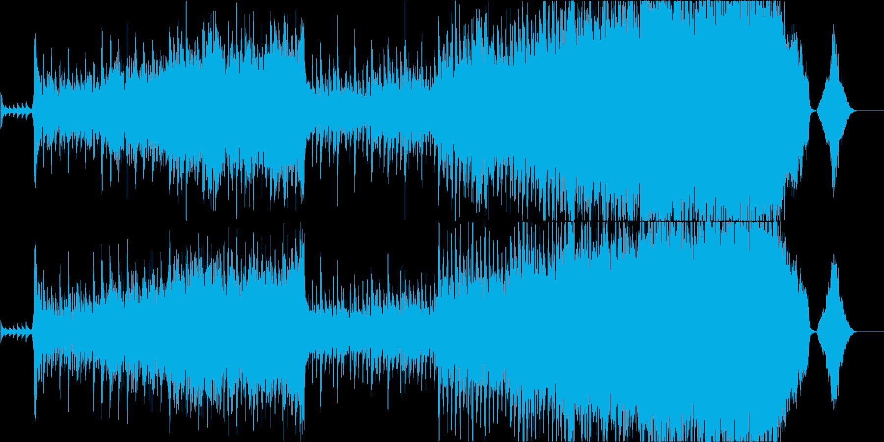 オーケストラを使用した、壮大で力強い曲の再生済みの波形