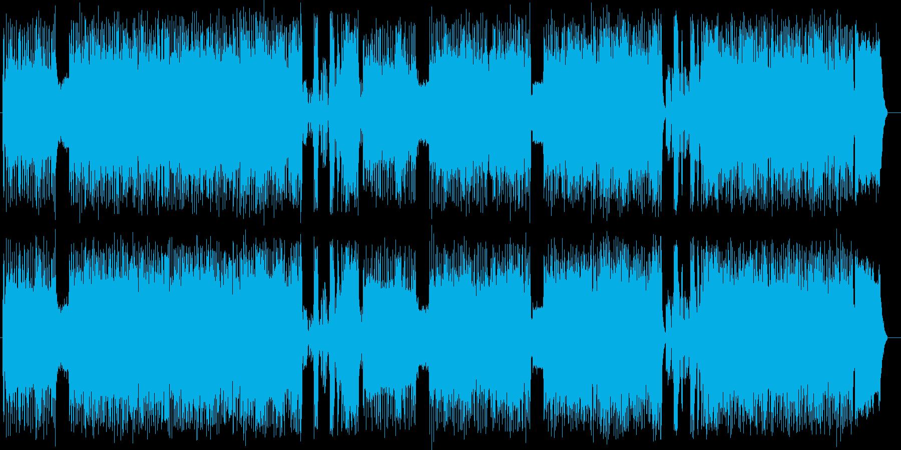 激しいギターが印象的なハードロックの再生済みの波形