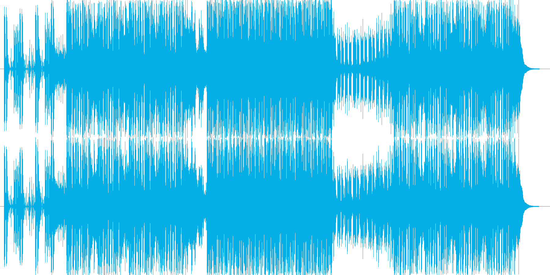 激しく燃え上がるデジタルロックの再生済みの波形