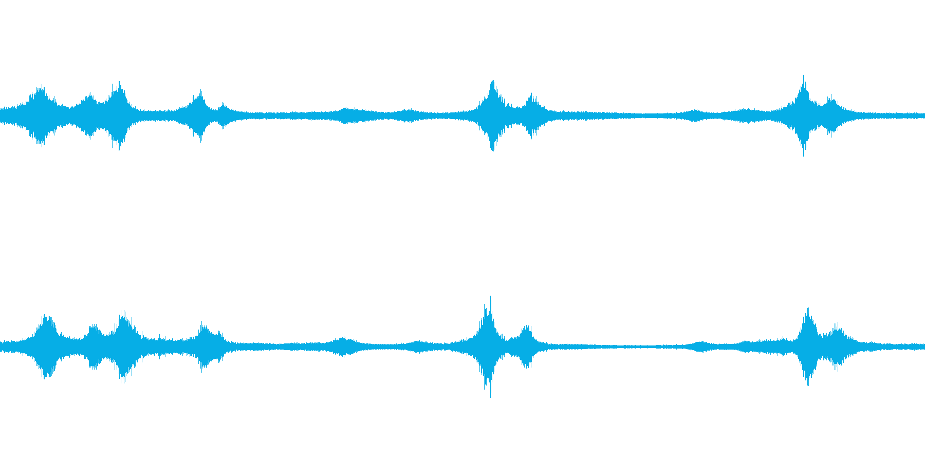 セミと自動車の音の再生済みの波形