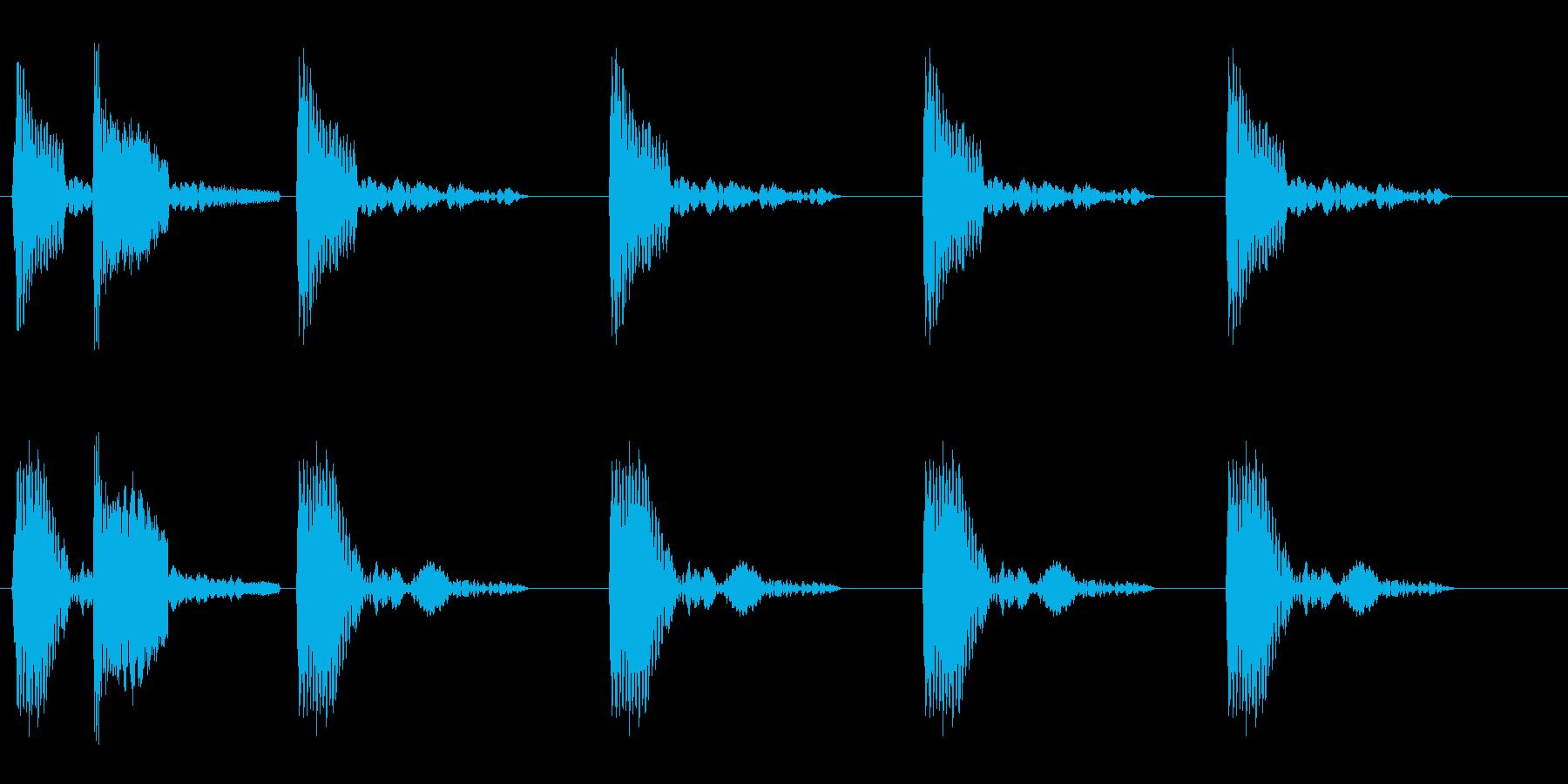 コッコッコッ(鶏の鳴き声)の再生済みの波形