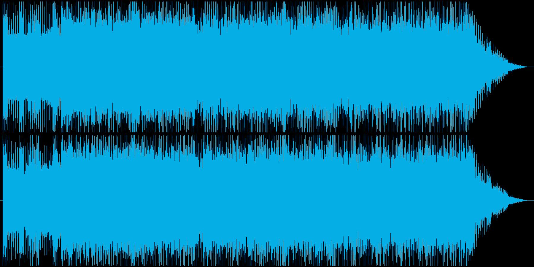 激しいギターとシンセのデジタルロックの再生済みの波形