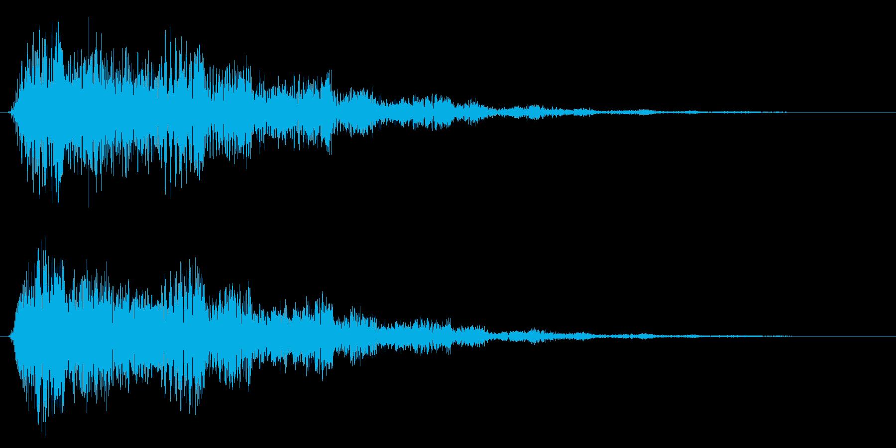 ビョオーンと魔法攻撃などを放ったときの音の再生済みの波形