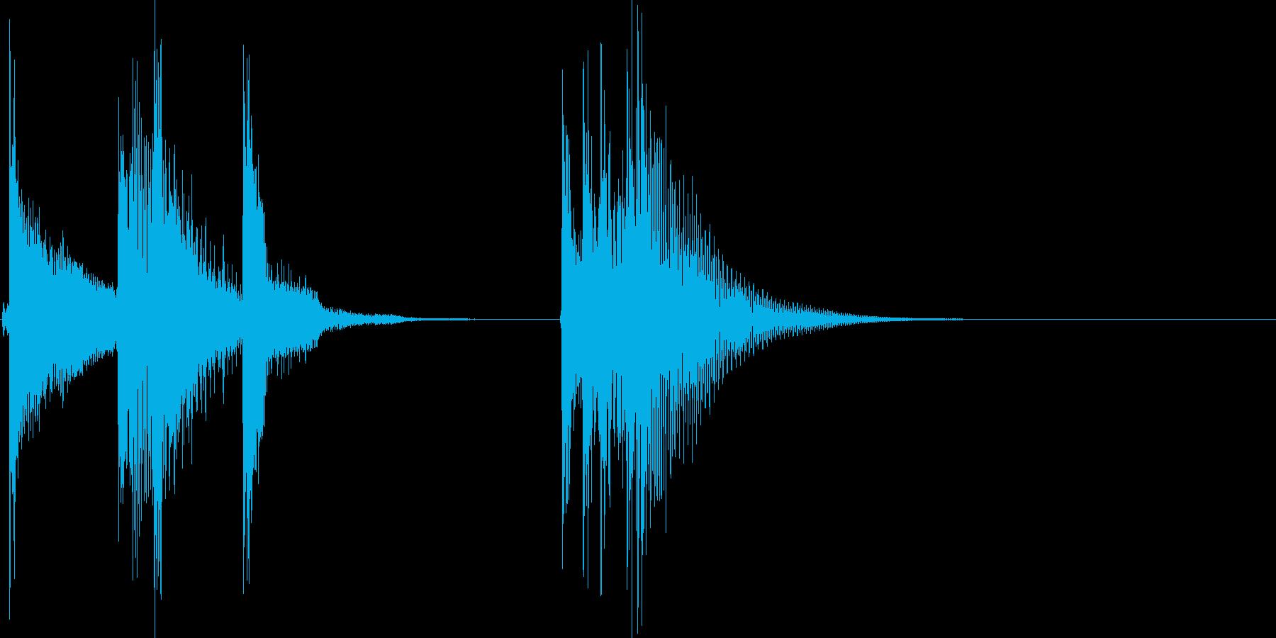 ボタン、スタートオン&オフ、ピロリンの再生済みの波形