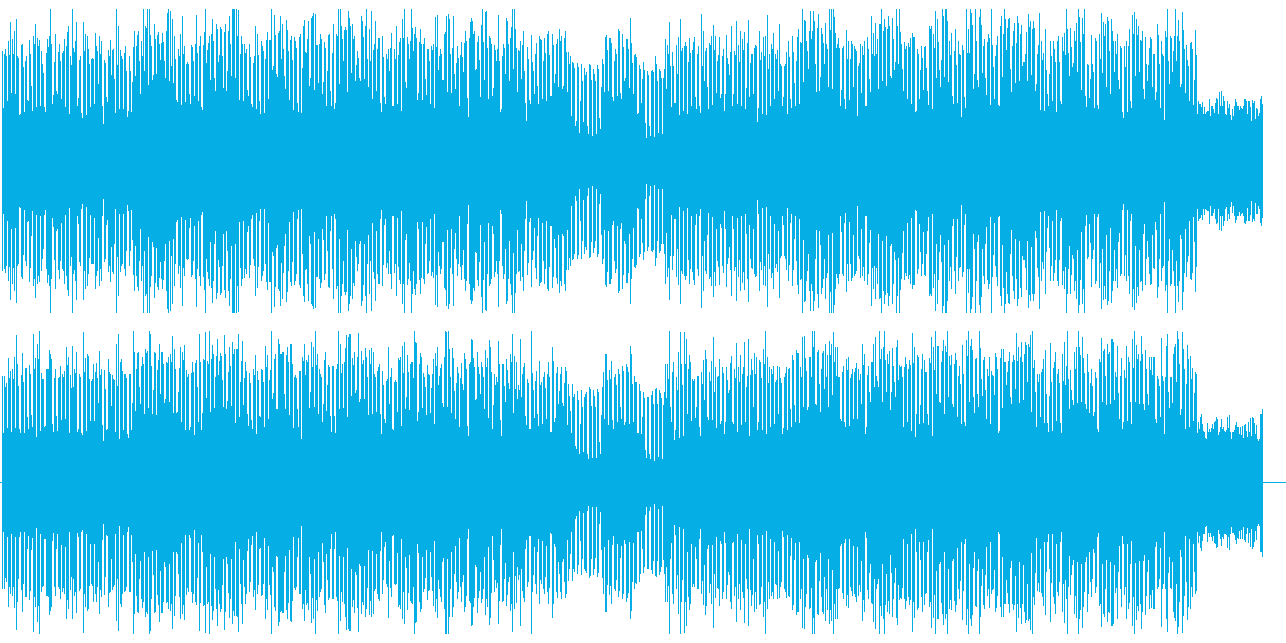 疾走感のあるテクノ調シンセサイザー曲の再生済みの波形