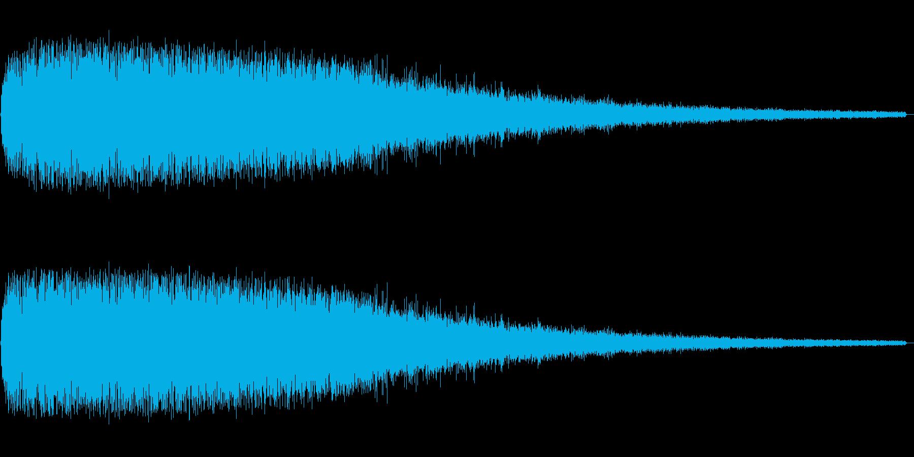 ザザザーと段々と小さくなるノイズ音の再生済みの波形