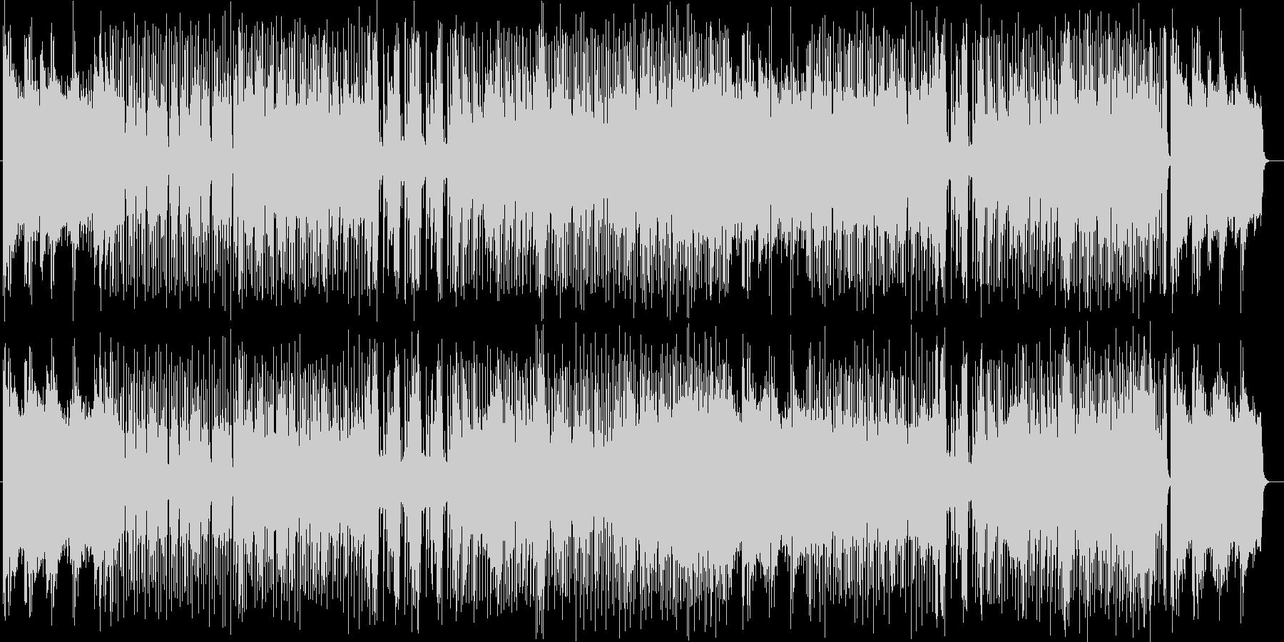 トランペットやドラムの高揚感あふれる楽曲の未再生の波形