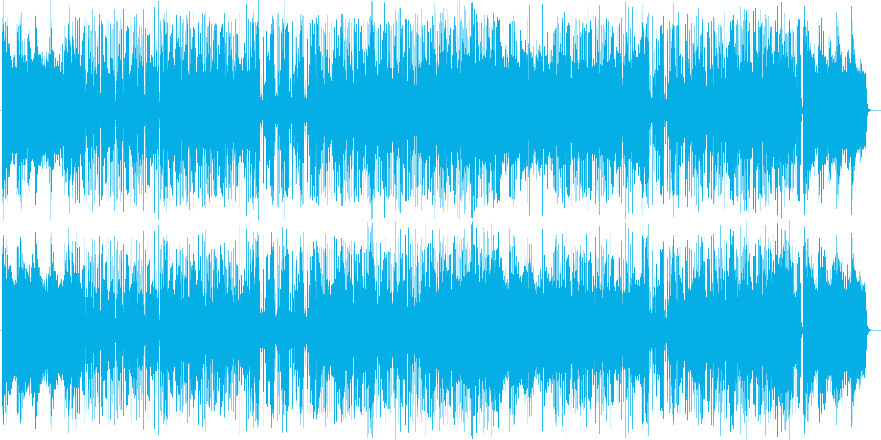 トランペットやドラムの高揚感あふれる楽曲の再生済みの波形