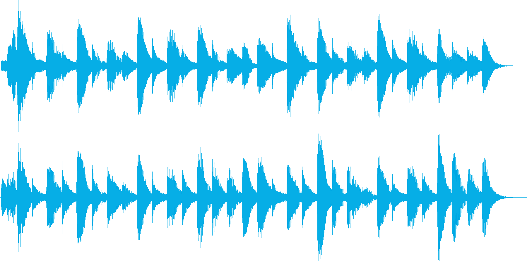 マリンバの優しいジングルの再生済みの波形